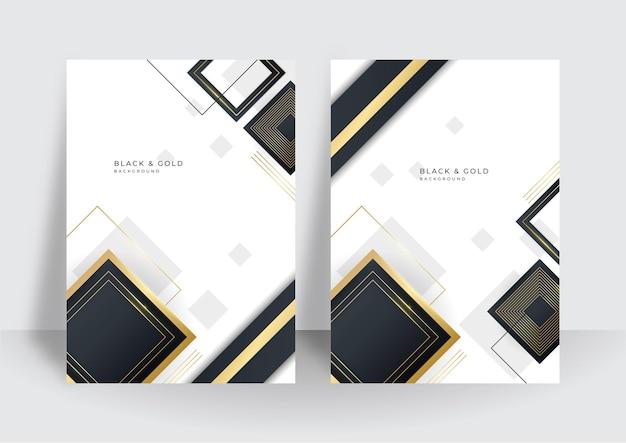 Modern black gold cover design set. luxury creative gold dynamic diagonal line pattern. formal premium vector background for business brochure, poster, notebook, menu template