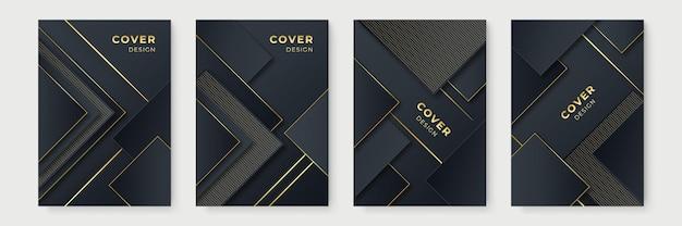 Современный черный золотой дизайн обложки. роскошный творческий золотой динамический узор диагональной линии. формальный премиум векторный фон для бизнес-брошюры, плаката, ноутбука, шаблона меню