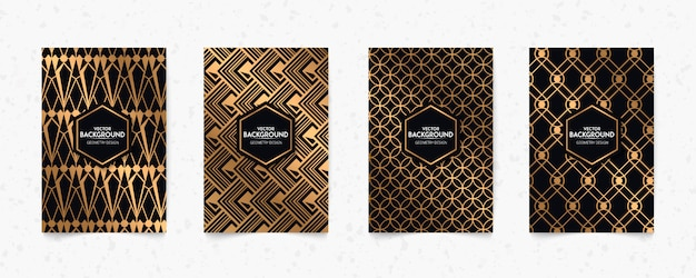 Modern black and gold pattern art deco geometry style texture background. '20s retro, the roaring 2020s
