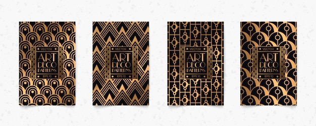 Modern black and gold pattern art deco geometry style texture background