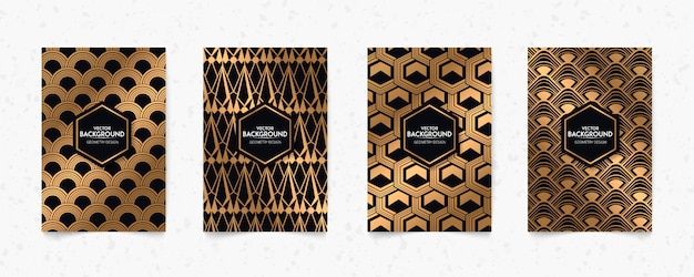 Modern black and gold pattern art deco geometry style texture background.