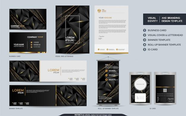 モダンなブラックゴールドの多角形の文房具セットと抽象的な重複レイヤーと視覚的なブランドアイデンティティをモックアップします。