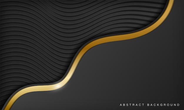 Modern black and golden curve line luxury background