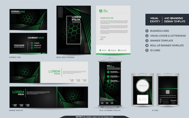Modern black green stationery  set and visual brand identity