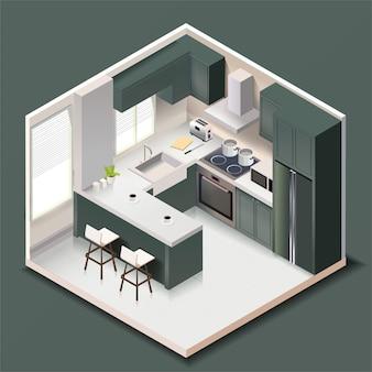 アイソメトリックスタイルの家具や家電製品を備えたモダンな黒いキッチンルームのインテリア