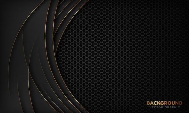 Modern black luxury background with gold line decoration