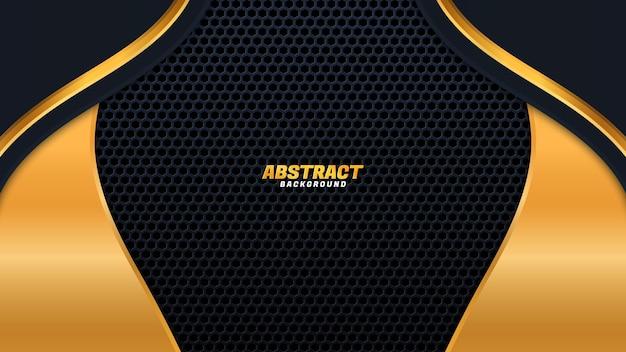 Modern black luxury background with golden lines element.