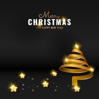 Современный черный баннер с рождеством и новым годом баннер фон с золотой спиралью дерева и звезды
