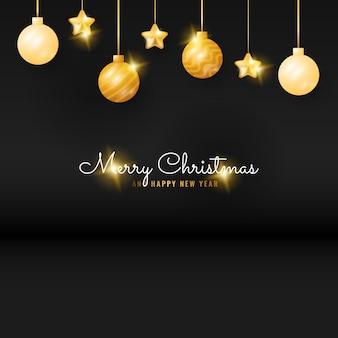金色のぶら下げボールと星とモダンな黒のメリークリスマスと新年あけましておめでとうございますのバナー
