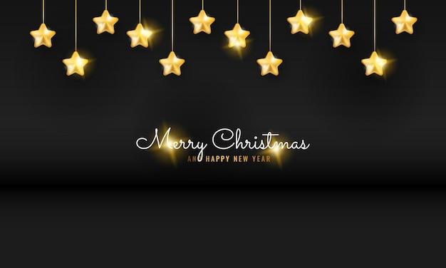 Современный черный баннер с рождеством и новым годом с золотой спиральной висящей звездой