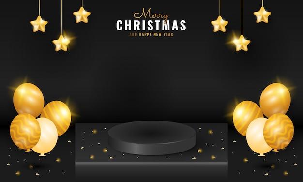 Современный черный баннер с рождеством и новым годом с подиумом, золотой блестящей звездой и воздушным шаром