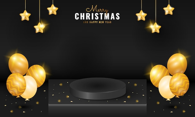 Modern black merry christmas and happy new year banner with podium, golden sparkle star and balloon