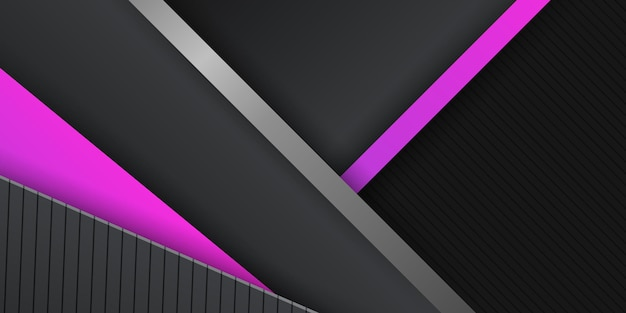 Modern black metallic abstract metal background with magenta light overlap layers