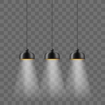 Modern black metallic lamp-shade electric illumination set