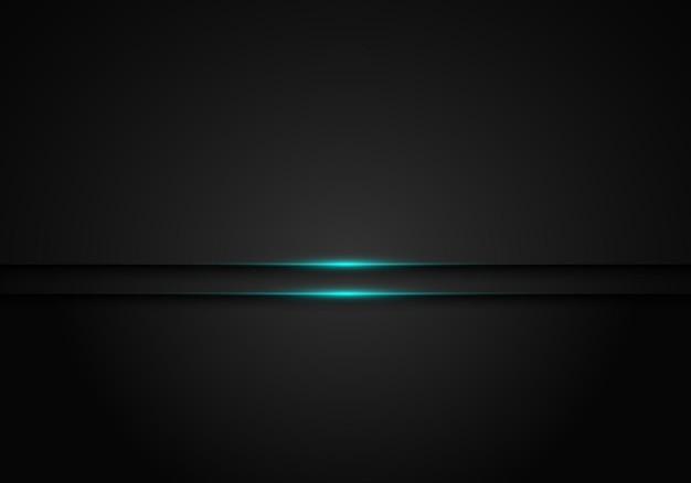 푸른 빛나는 빛을 가진 현대 검은 금속 층