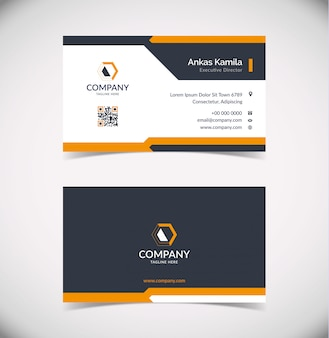 Modern black and orange geometric business card template