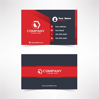 Modern black red business card design template