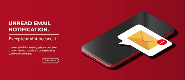 Modern black smart phone lies on a smooth dark red surface.