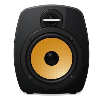 Modern black sound speaker on white background. vector illustration.