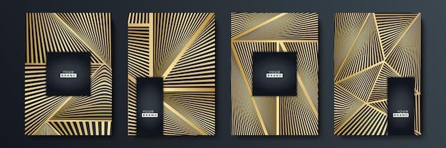 Modern black stripe cover design set. luxury creative gold dynamic diagonal line pattern. formal premium vector background for business brochure, poster, notebook, menu template