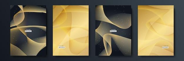 Набор современных обложек с черной полосой. роскошный творческий золотой динамический узор диагональной линии. формальный премиум векторный фон для бизнес-брошюры, плаката, ноутбука, шаблона меню