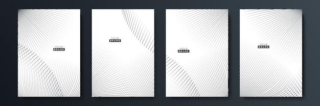 Modern black stripe cover design set. luxury creative white dynamic diagonal line pattern. formal premium vector background for business brochure, poster, notebook, menu template
