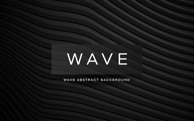 Modern black waves smooth lines pattern background