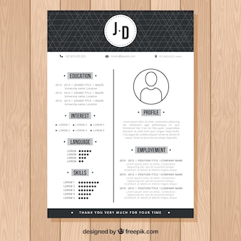 Modern black and white cv design