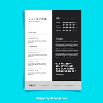 Modern black and white cv template