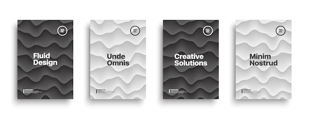 Современный черный белый разные шаблоны обложки набор