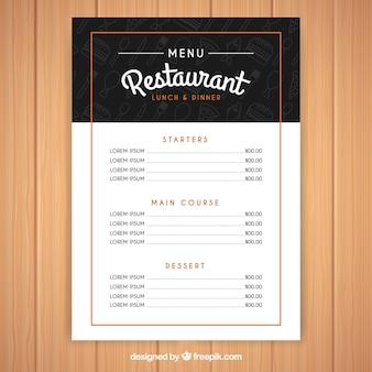 Modern black and white menu template
