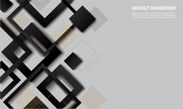 Modern black and white square gradient trendy background