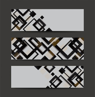 Modern black and white square gradient trendy banner background