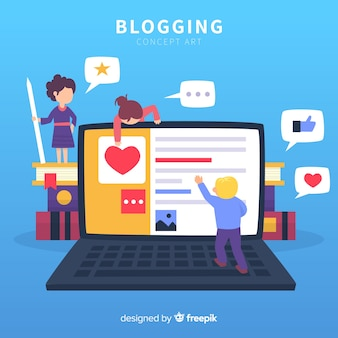 Modern blogger concept with flat design