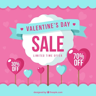 Modern blue and pink valentine sale background