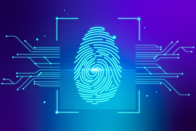 Modern blue background with neon fingerprint