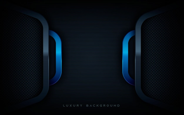 Modern blue and black dimension layers background