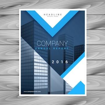 Modern blue brochure with geometric shapes