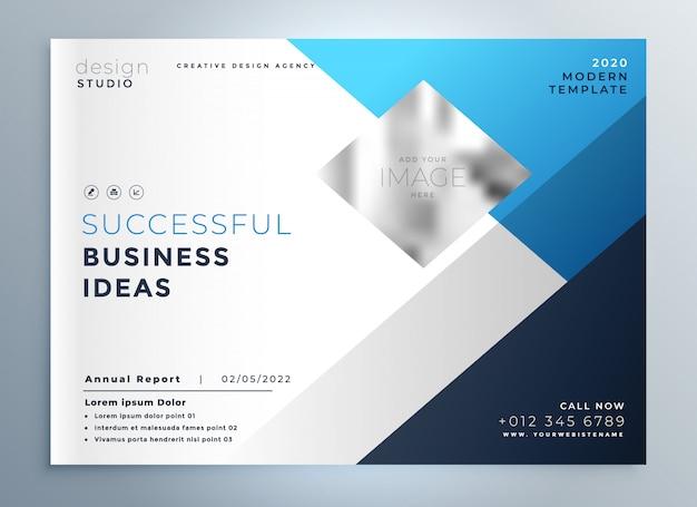 現代青ビジネスのパンフレットのテンプレートのプレゼンテーション