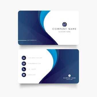 Modern blue business card with abstract shapes