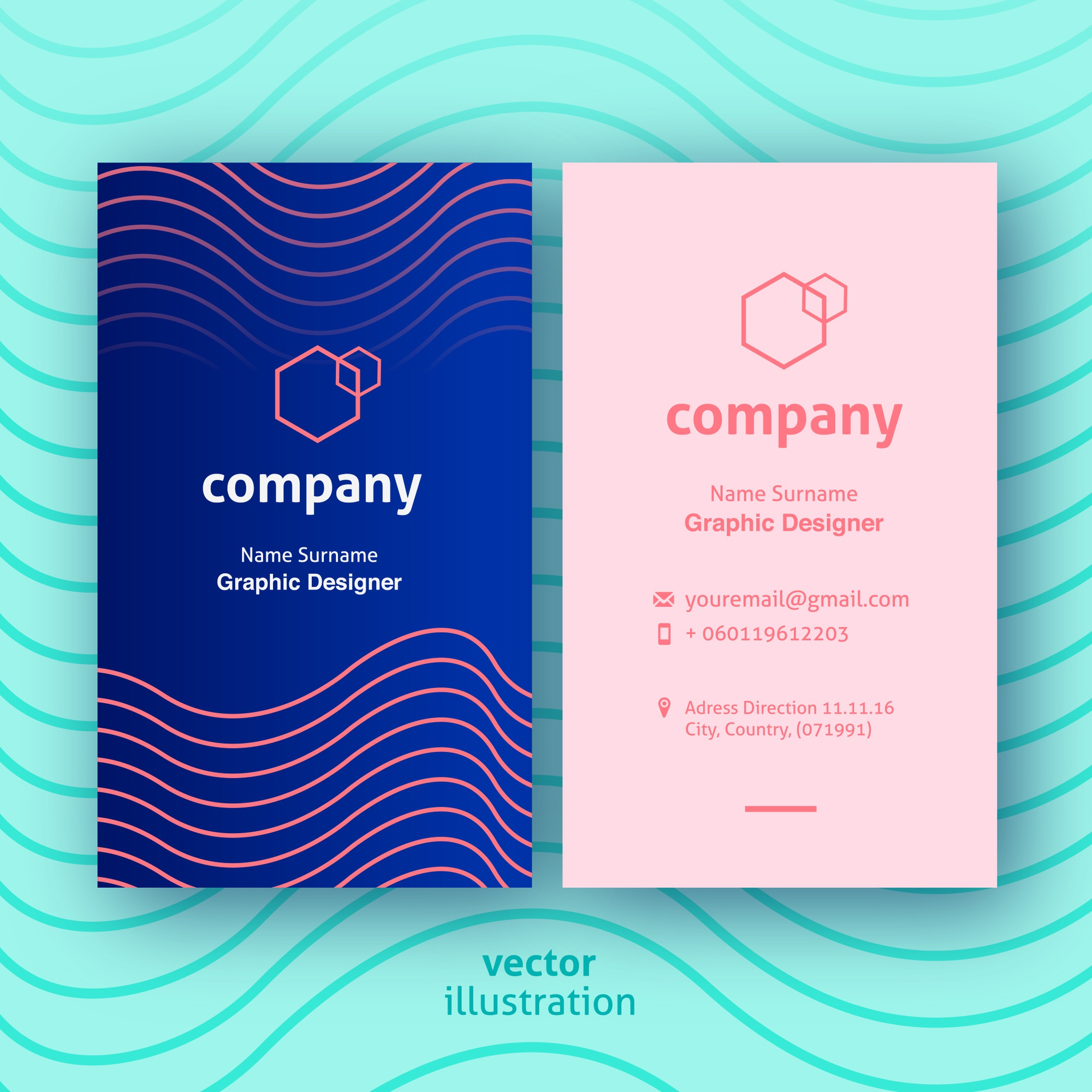 Modern blue business cards with rose