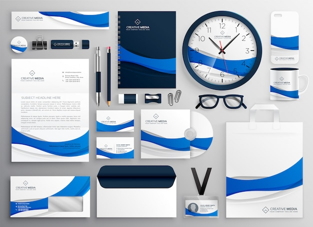 Modern blue business collateral stationery set