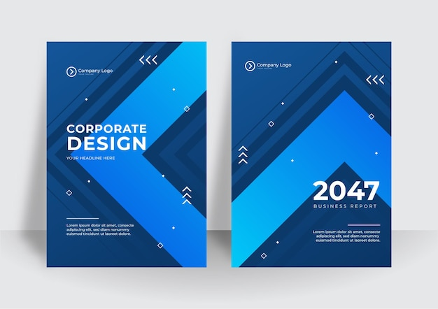 現代の青いビジネス企業のカバーデザインの背景。ブルーデジタルコンテンポラリーカバー、テンプレート、ポスター、パンフレット、バナー、チラシ。抽象的な最小限の未来的な技術デザインの背景
