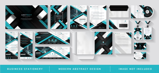 Modern blue business corporate identity template