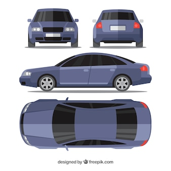 Modern blue car in different views