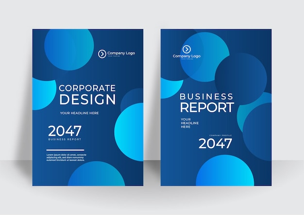 Modern blue cover design template. brochure template layout design. corporate business annual report, catalog, magazine, flyer mockup. creative modern bright concept circle round shape