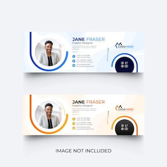 Modern blue email signature template or email footer template set
