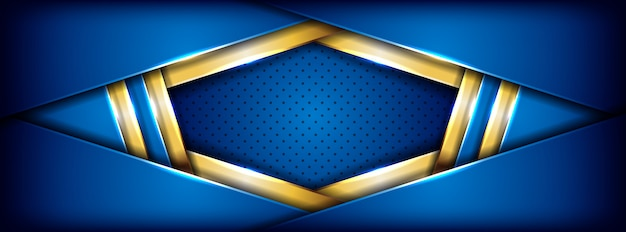 Modern blue futuristic with golden line banner background