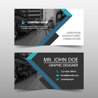 Modern blue geometric business card template