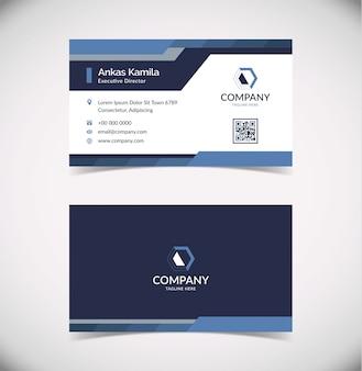 Modern blue geometric business card template